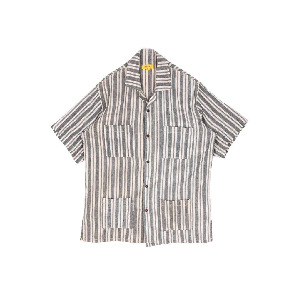 STRIPED LINEN PAPA SHIRT [NAVY]