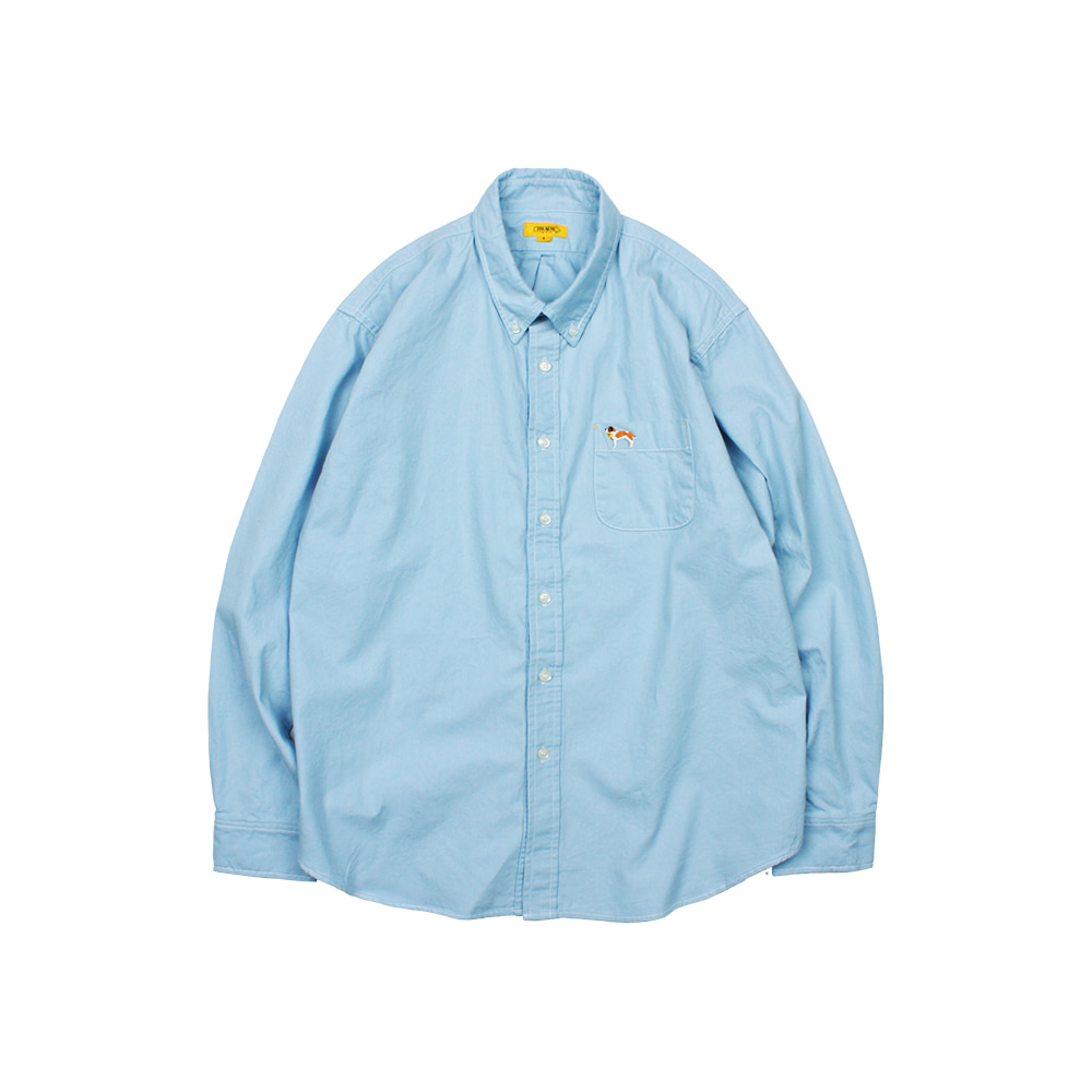 EMBROIDERY OXFORD SHIRT [BLUE]
