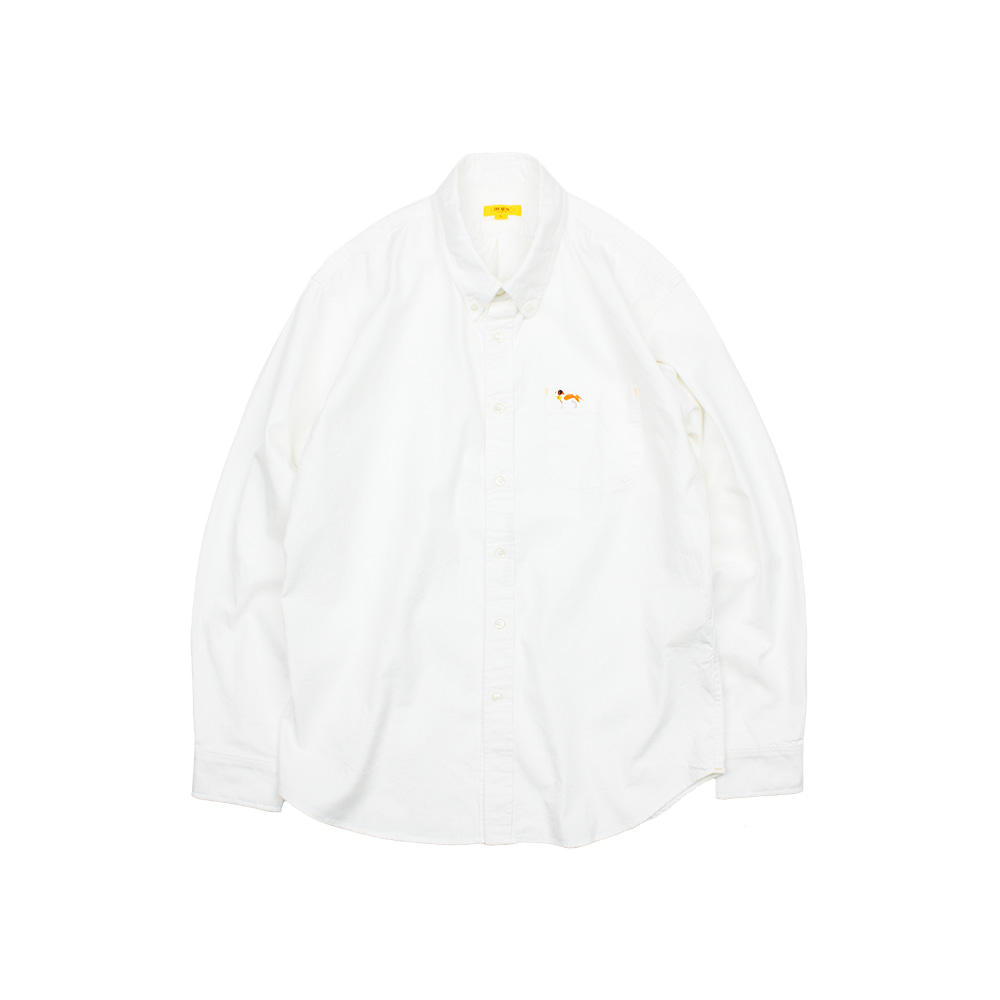 EMBROIDERY OXFORD SHIRT [IVORY]